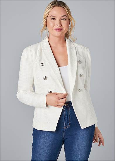 Plus Size Double Breasted Tweed Blazer