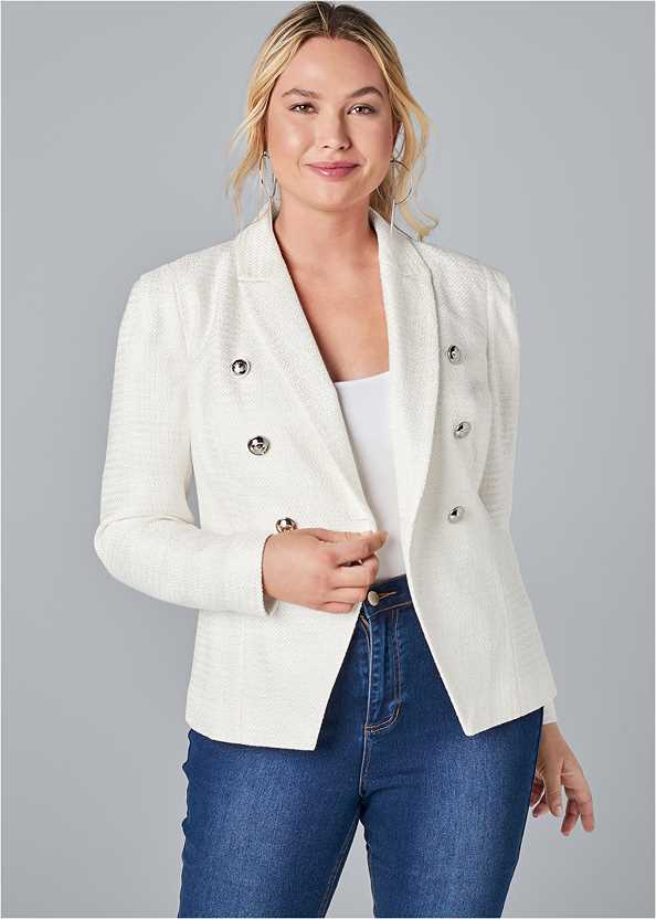 Double Breasted Tweed Blazer,Basic Cami Two Pack,Bum Lifter Jeans,Ankle Strap Cork Heel