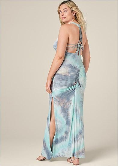 Plus Size Strappy Back Tie Dye Maxi Dress