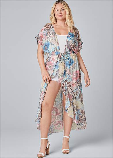 Plus Size Embellished Floral And Paisley Print Maxi Top