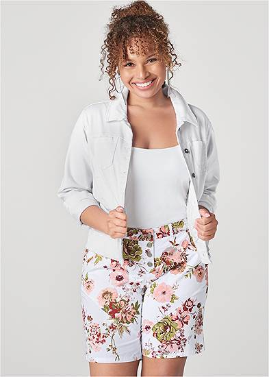 Plus Size Rolled Cuff Shorts