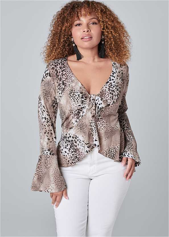 Trumpet Sleeve Top,Mid Rise Color Skinny Jeans
