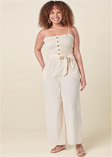 Plus Size Smocked Detail Linen Jumpsuit
