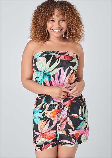 Plus Size Strapless Floral Romper