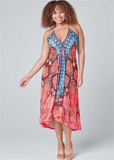 Plus Size High Low Printed Dress