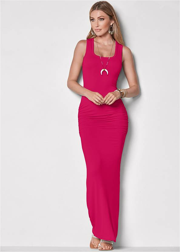 Ruched Tank Maxi Dress,Layered Long Necklace,Studded Flip Flops,Hoop Earrings