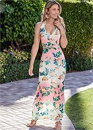 Front View Halter Printed Maxi Dress
