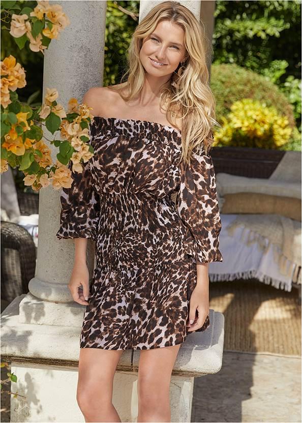 Leopard Smocked Dress,Pearl By Venus® Strapless Bra,Peep Toe Mules,Square Toe Thong Heel Sandal,Animal Chain Crossbody Bag