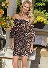 Cropped Front View Leopard Smocked Dress