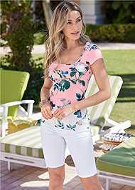Cropped Front View Printed Square Neck Top