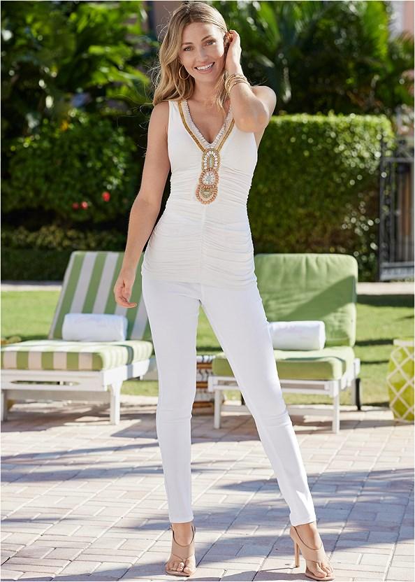 Embellished Neckline Top,Bum Lifter Jeans,Square Toe Thong Heel Sandal,Ankle Strap Cork Heel,Leaf Earring Set