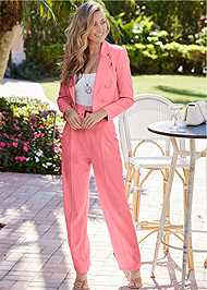 Full Front View Belted High Waist Suiting Set
