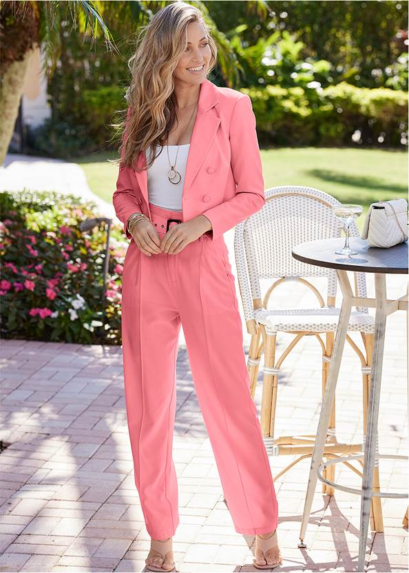 Belted Suiting Set,Basic Cami Two Pack,High Heel Strappy Sandals,Layered Coin Detail Choker,Shell Detail Clutch