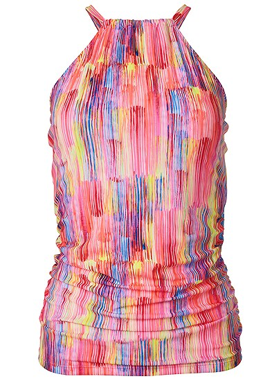 Plus Size Ruched Side Halter Tankini Top