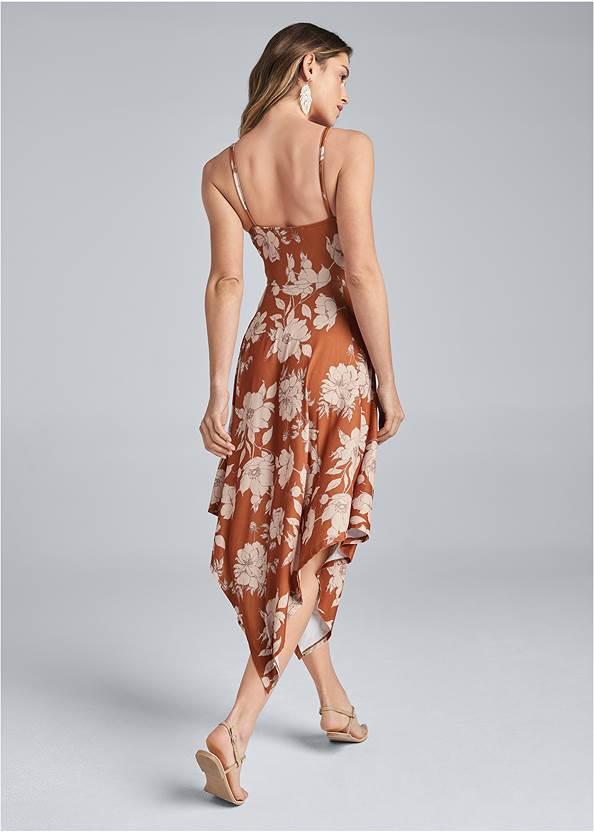 Back View Floral Print Midi Dress
