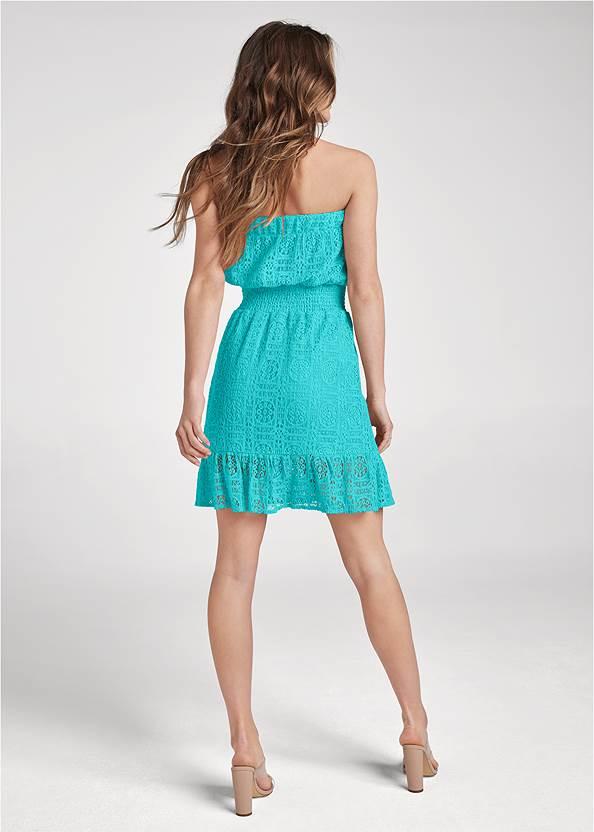 Back View Strapless Lace Mini Dress