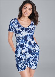 Cropped front view Knotted Casual Dress