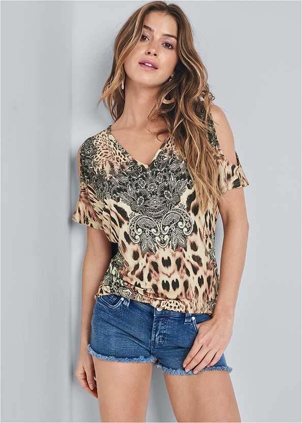 Leopard Cold Shoulder Top,Frayed Cut Off Jean Shorts,Lucite Ankle Wrap Wedge