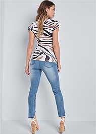 Back View Printed Square Neck Top