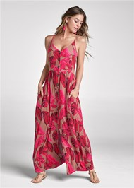 Front View Button Front Maxi Dress