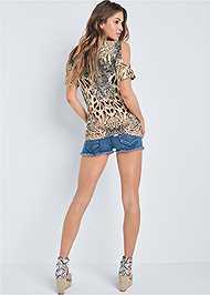Back View Leopard Cold Shoulder Top