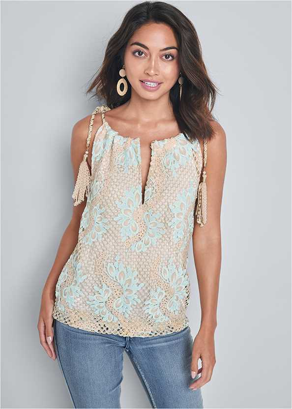 Lace Sleeveless Top,Mid Rise Color Skinny Jeans