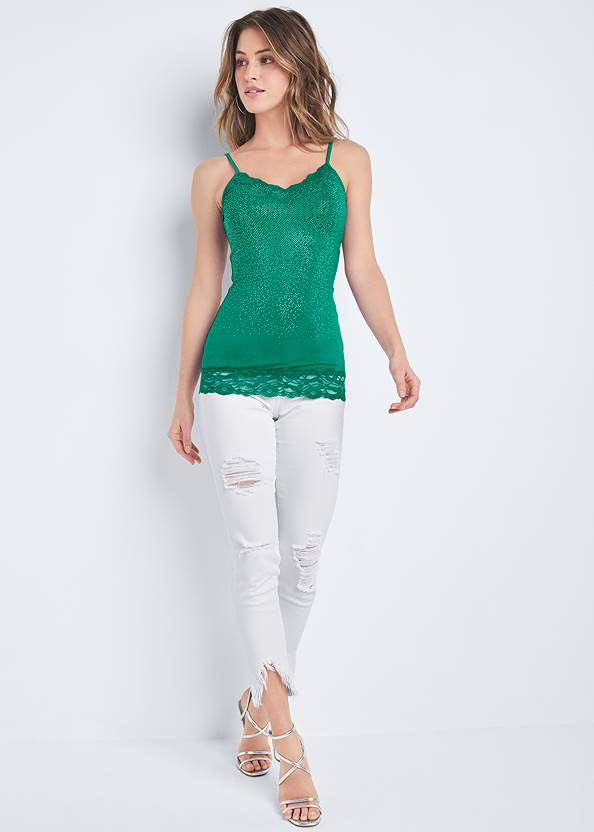 Alternate View Embellished Lace Tank Top