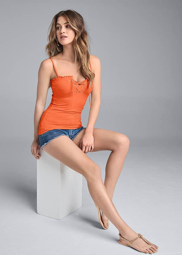 Full Front View Ribbed Lace Up Top