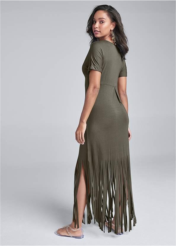 Back View Fringe Detail Maxi Dress