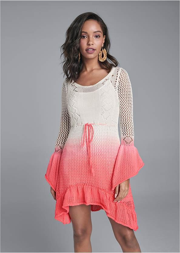 Alternate View Ombre Crochet Mini Dress
