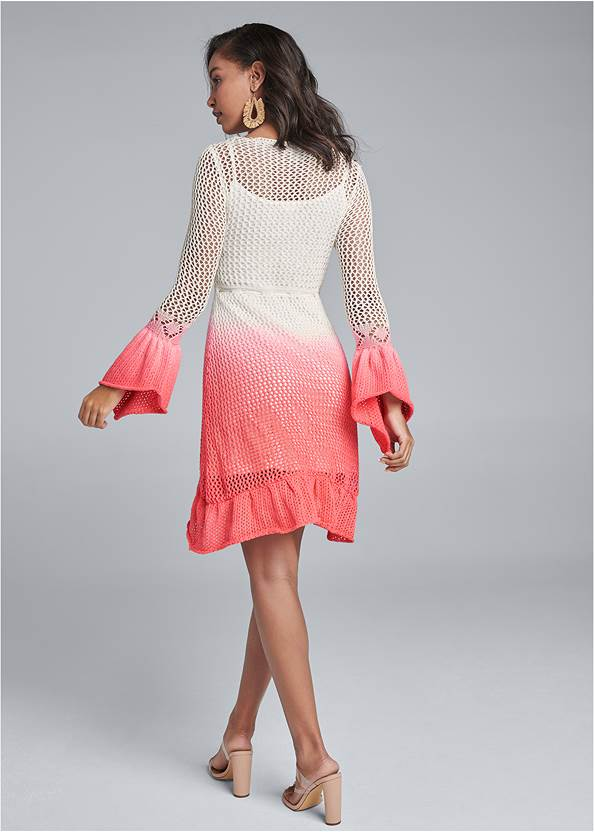 Full back view Ombre Crochet Mini Dress