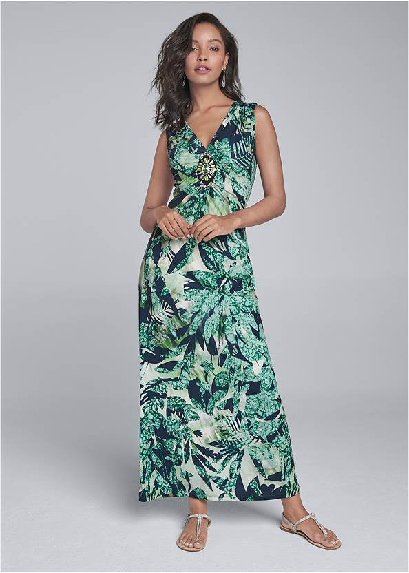 Tropical Print Maxi Dress,Rhinestone Thong Sandals,Metallic Beaded Earrings