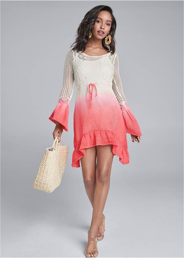 Full front view Ombre Crochet Mini Dress