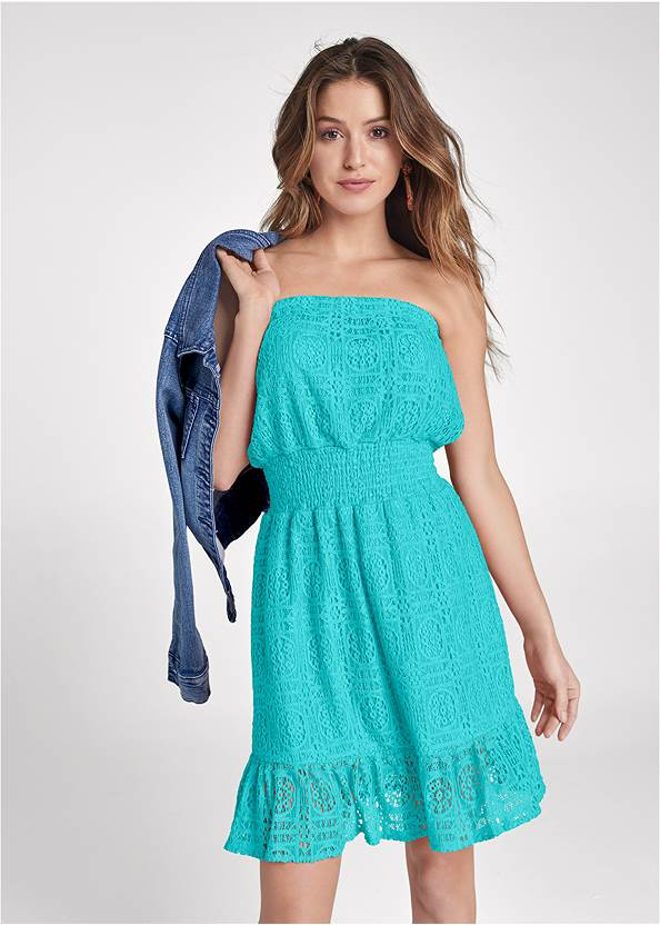 Strapless Lace Mini Dress,Jean Jacket,Beaded Thread Hoop Earrings