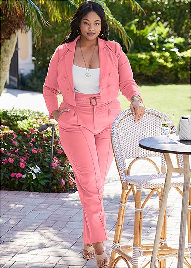 Plus Size Belted High Waist Suiting Set
