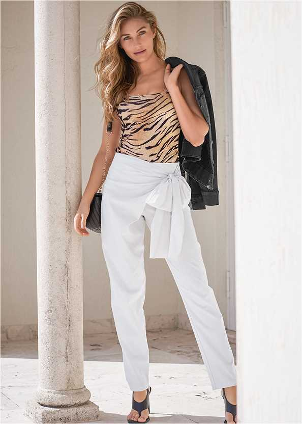 Linen Wrap Front Pants,Jean Jacket,Tiger Square Neck Tank Top,Basic Cami Two Pack,Square Toe Thong Heel Sandal,Lucite Ankle Wrap Wedge,Leaf Earring Set,Animal Chain Crossbody Bag