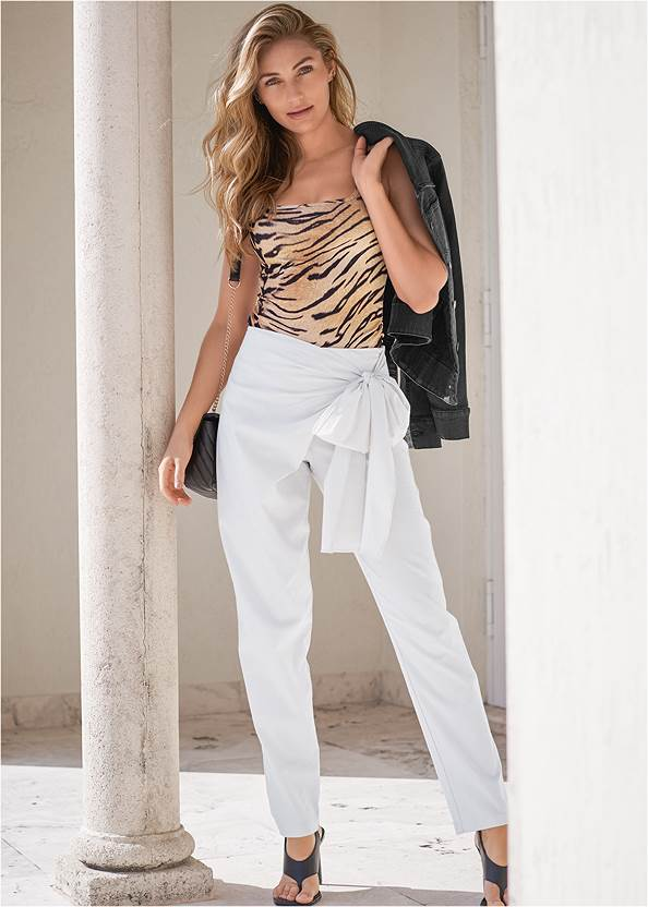 Linen Wrap Front Pants,Jean Jacket,Tiger Square Neck Tank Top,Basic Cami Two Pack,Square Toe Thong Heel Sandal,Lucite Ankle Wrap Wedge,Animal Chain Crossbody Bag