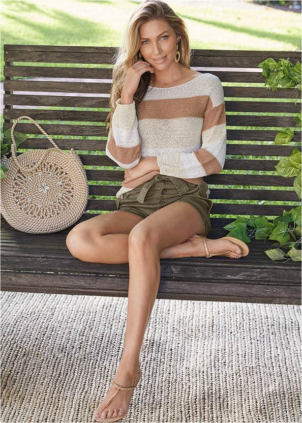 Belted Utility Shorts,Striped Sweater,Basic Cami Two Pack,Jean Jacket,Rhinestone Thong Sandals,Wrap Around Wedges,Striped Rope Shell Tote Bag,Packable Straw Hat,Natural Tassel Clutch