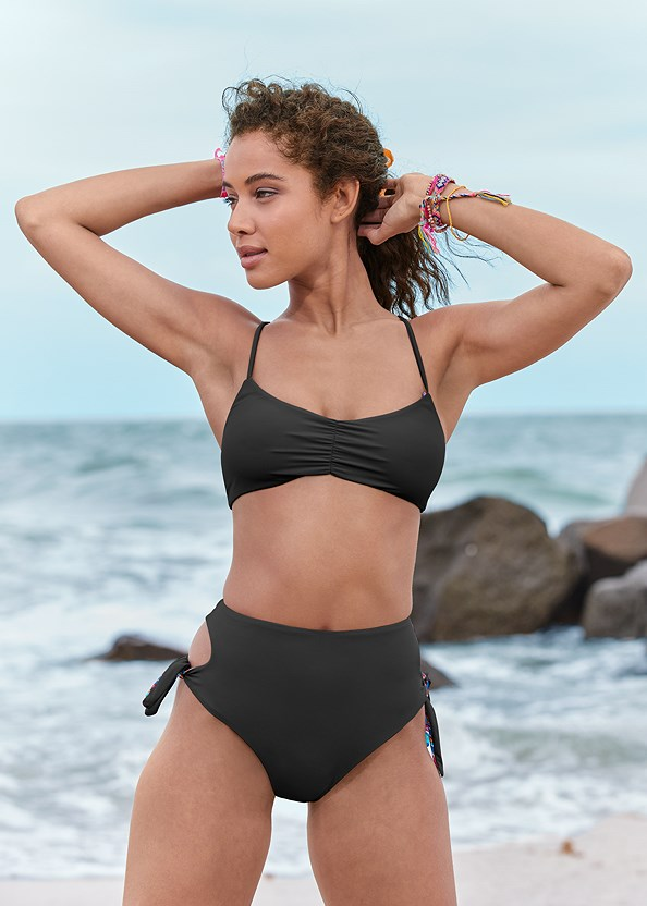 Reversible Ballet Top,Reversible Tie Side Bottom,Versatility By Venus™ Low Rise Ruched Bottom,Ruched Waist Bikini Bottom,Braided String Side Bottom,Mesh Cover-Up Dress,Woven Handbag