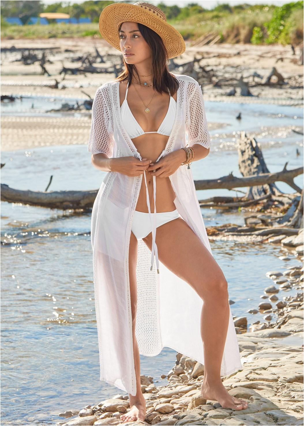 Crochet Duster,Triangle String Bikini Top,Scoop Front Classic Bikini Bottom ,Slimming Bandeau One-Piece,Shell Detail Sandals