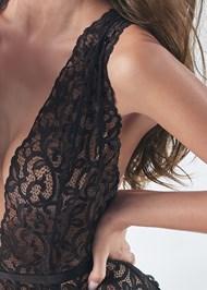 Detail front view Plunge Lace Bodysuit