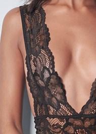 Detail front view Lace Plunge Bodysuit