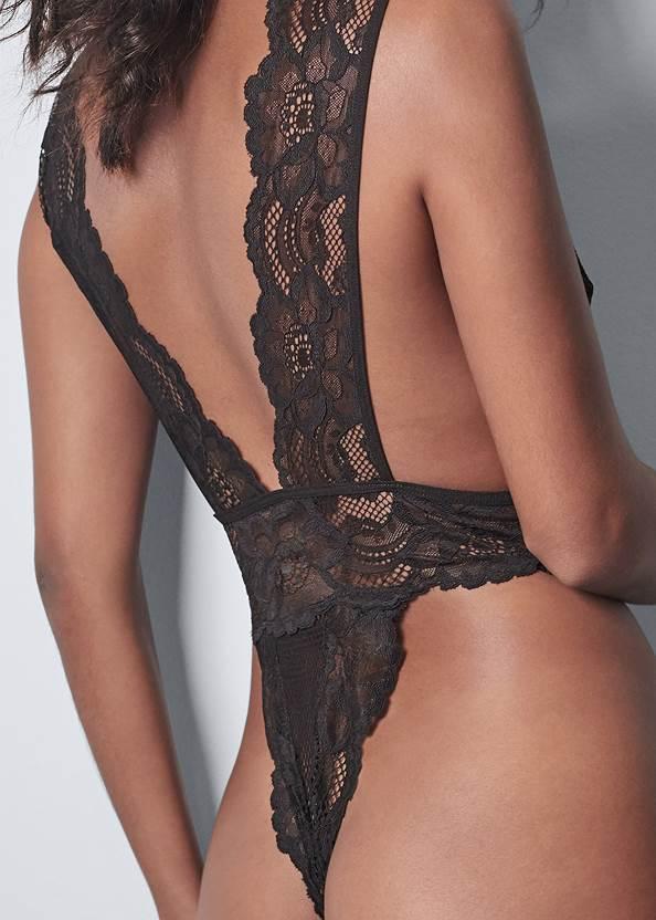 Detail back view Lace Plunge Bodysuit