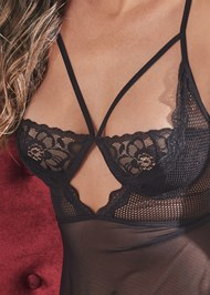 Detail front view Strappy Sheer Babydoll