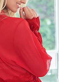 Detail back view Sheer Robe W/ Lace Detail