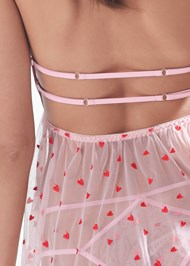 Detail back view Heart Print Babydoll Set