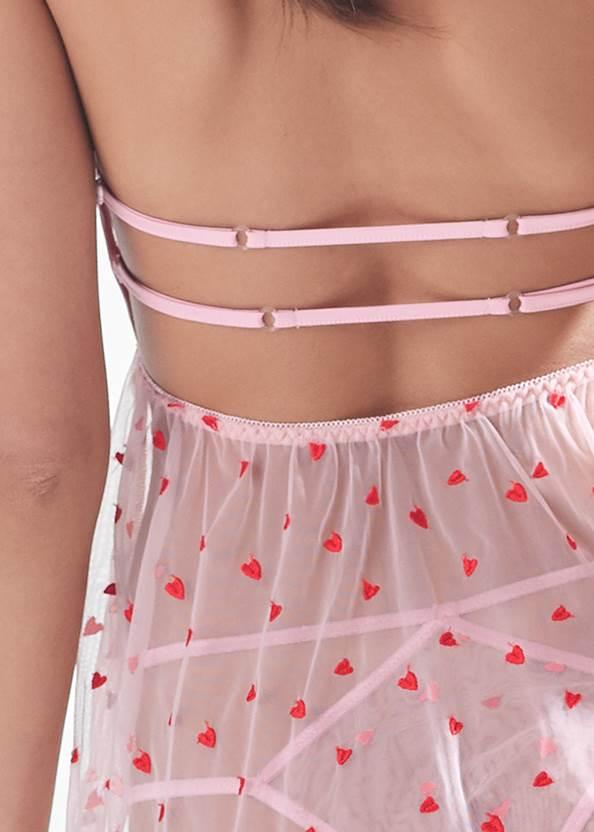 Detail back view Heart Print Babydoll Set