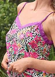 Detail front view Lace Trim Cami Shorts Set