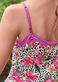 Detail back view Lace Trim Cami Shorts Set