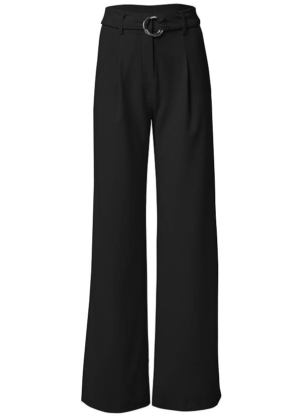 Waist down side view Smoothing Belted Side Slit Pants